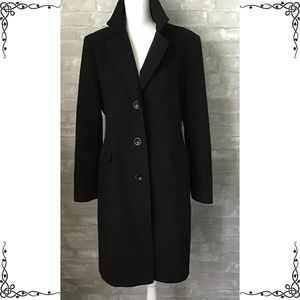 Preston & York Long Black Wool Coat Size 12